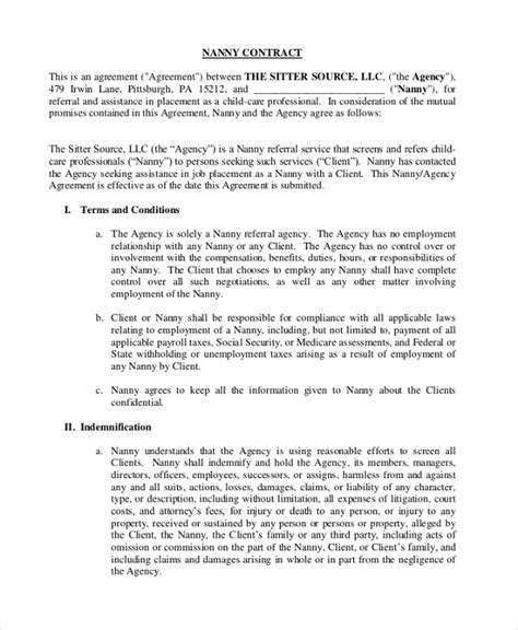 work from home contract template sle nanny contract form 9 free documents in pdf doc