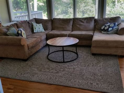 how to place a rug under a sectional sofa rug under a sectional couch