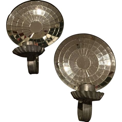 Tin Sconces antique pair colonial mirrored tin sconces from chappy on ruby
