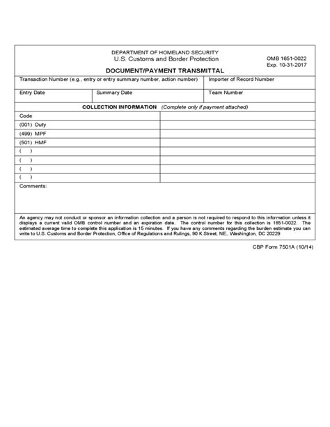 Transmittal Log Format Cbp Form 7501a Document Payment Transmittal Free
