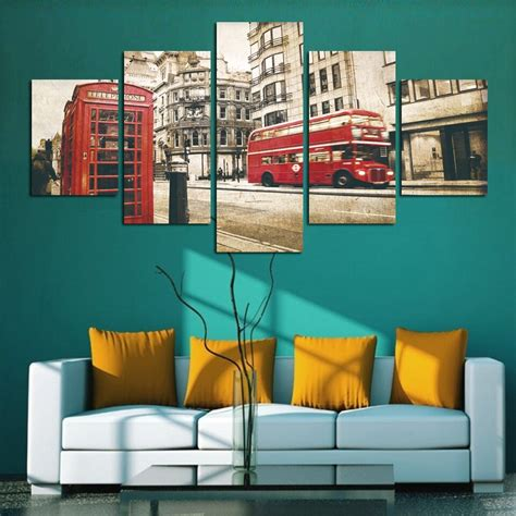 5 panel modern city telephone booth canvas painting pictures vintage home decor canvas