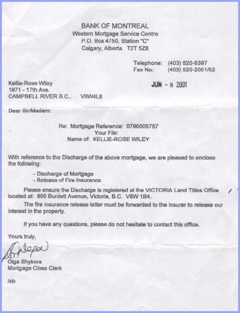 Mortgage Discharge Letter Letter To Discharging Mortgagee Requesting Discharge Images Frompo