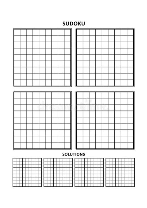 sudoku printable a4 sudoku template four grids with solutions on a4 or letter