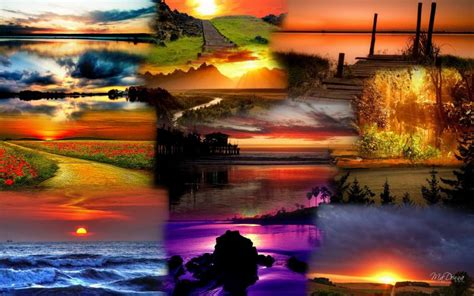 hd sunset collage  wallpaper