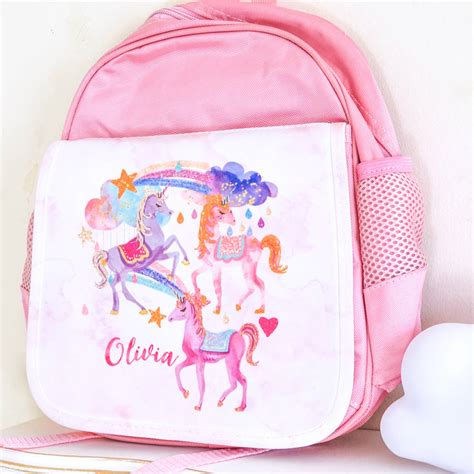 personalised school bag unicorn by august grace