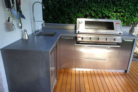 outdoor kitchen stainless steel cabinets outdoor kitchens with polished concrete benchtops