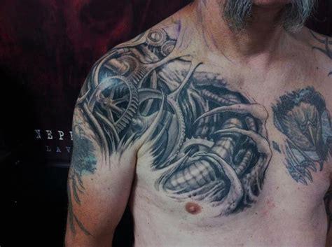 tattoo biomechanical shoulder shoulder biomechanical chest tattoo by nephtys de l etoile