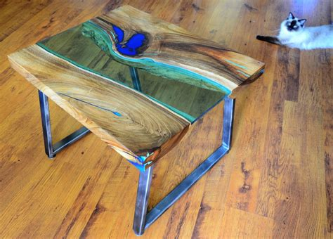 Wood Slice Coffee Table - live edge river coffee table with glowing resin fillin
