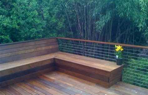 deck benches built in built in seating deck benches with rails and back built