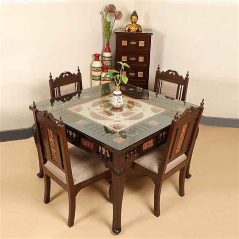 Dining Table Bench Dubai Moorni Teak Wood 4 Seater Dining Table And Chair With
