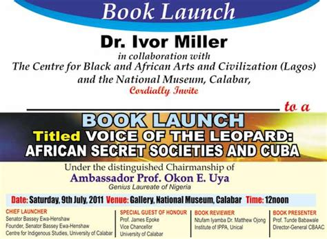Book Release Invitation Letter Book Launch Edition Of Voice Of The Leopard Secret Societies And Cuba