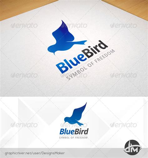 blue flying bird logo template graphicriver