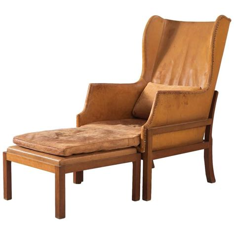 cognac leather wingback chair mogens koch wingback lounge chair in mahogany and cognac