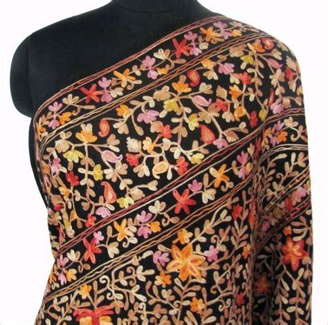 Pashmina Pop Motif 12 Black Wool Shawl Heavy Crewel Embroidery India Kashmir