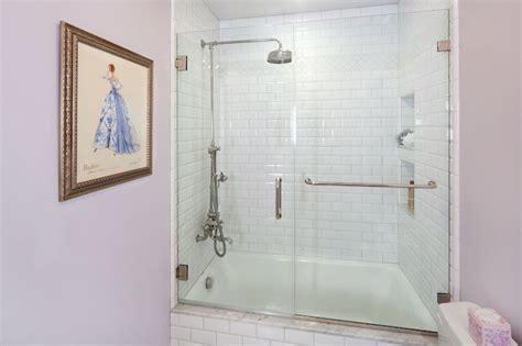 beveled subway tile shower shower with beveled subway tiles transitional bathroom
