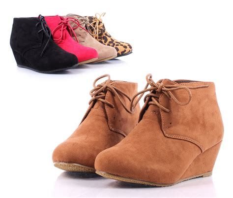 camel lace up wedge high heels ankle boots
