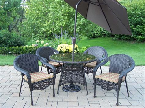 Oakland Living Resin Wicker Casual Patio Dining Set With