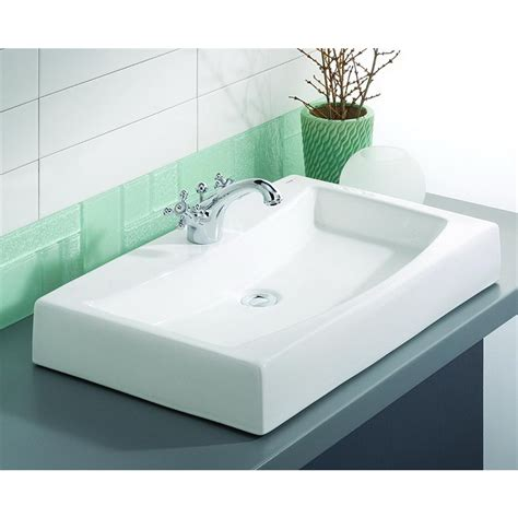above counter bathroom sinks shop cheviot mediterranean white above counter rectangular bathroom sink at lowes