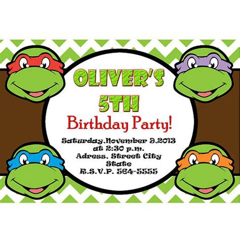 tmnt birthday card template mutant turtles invitation tmnt invite