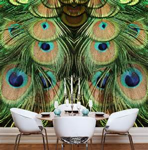 Peacock Wall Mural Jade Peacock Mural Wallpaper