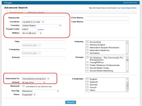 Search In Sourcing With Linkedin S Advanced Search Features Tools