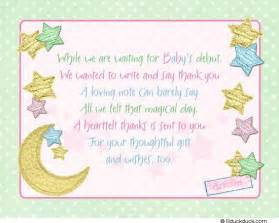Thank You For The Baby Shower by Thank You Notes Baby Shower Twinkle Twinkle