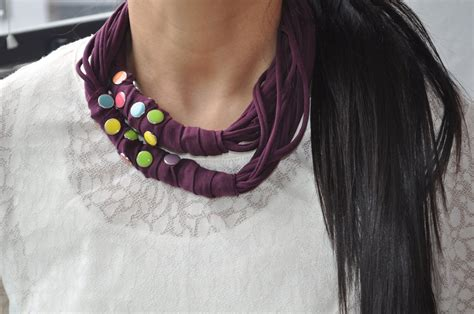 pattern for t shirt necklace diy necklace from an old t shirt recycle no sew youtube