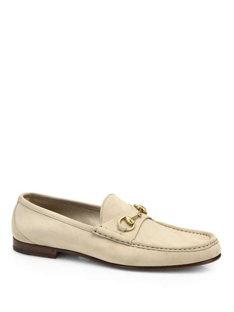 gucci horsebit suede loafers gucci 1953 suede horsebit loafers in beige for rock