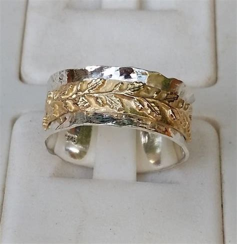 Handmade Artisan Engagement Rings - silver and gold wedding ring sterling silver 925 14k