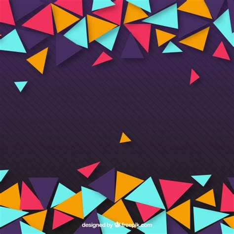 colorful design purple background of colorful triangles vector free