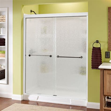 Delta Glass Shower Doors Delta Mandara 59 3 8 In X 70 In Semi Framed Sliding Shower Door In White With Bronze Hardware