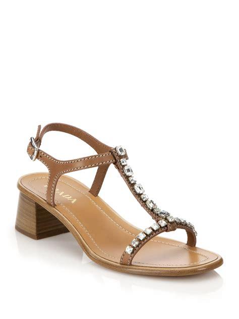 prada sandals lyst prada swarovski leather sandals in brown