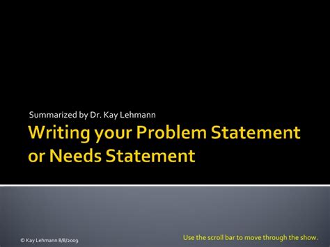 writing your problem statement