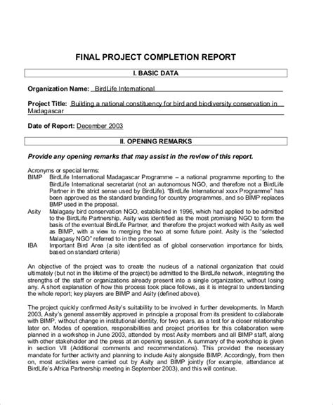 sle project completion report 8 exles in pdf