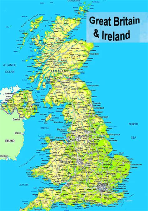 laminated map of great britain uk england scotland wales n ireland poster ebay