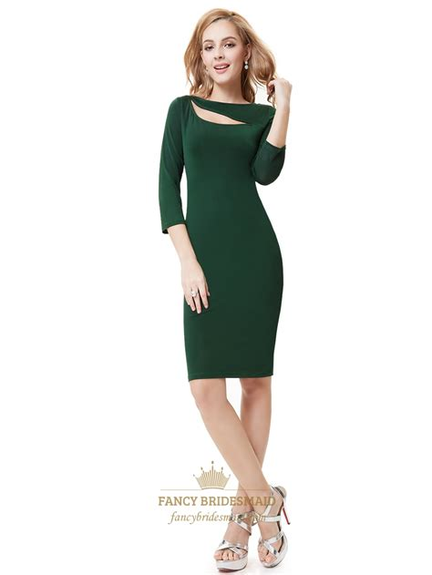 Green Cocktail Dresses With Sleeves | emerald green knee length sheath cocktail dress with 3 4