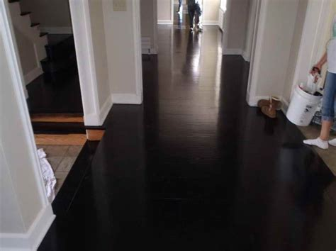 Black Hardwood Floor, Very Nice Decorative Look at a white