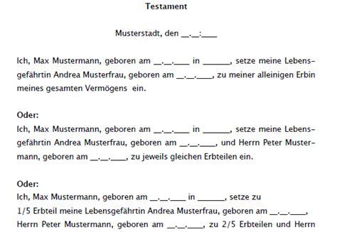 Testament Vorlagen Muster Kostenlos Testament Vor Und Nacherbschaft Sofort Zum
