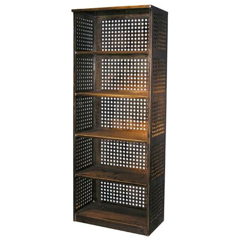 perforated steel bookcase at 1stdibs