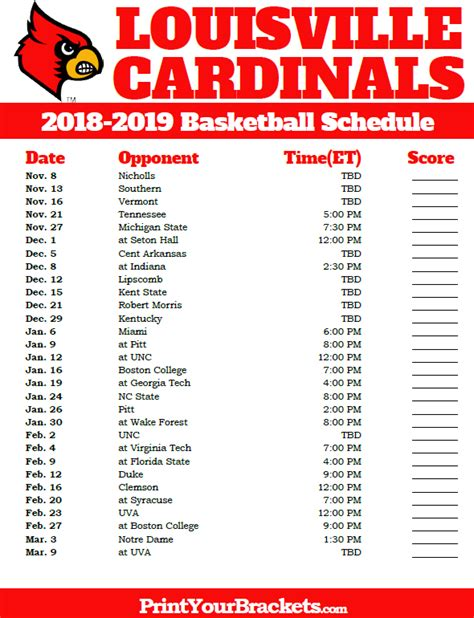Cardinals Schedule 2018 Printable