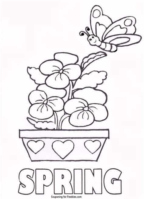 free printable coloring page with spring theme free for