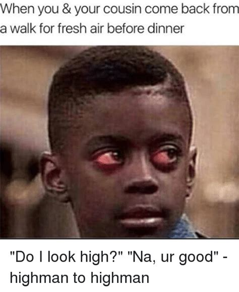 high memes when you your cousin come back from a walk for fresh air