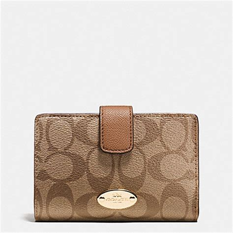 Coach Medium Wallet Ori coach f53562 medium corner zip wallet in signature light gold khaki saddle coach accessories