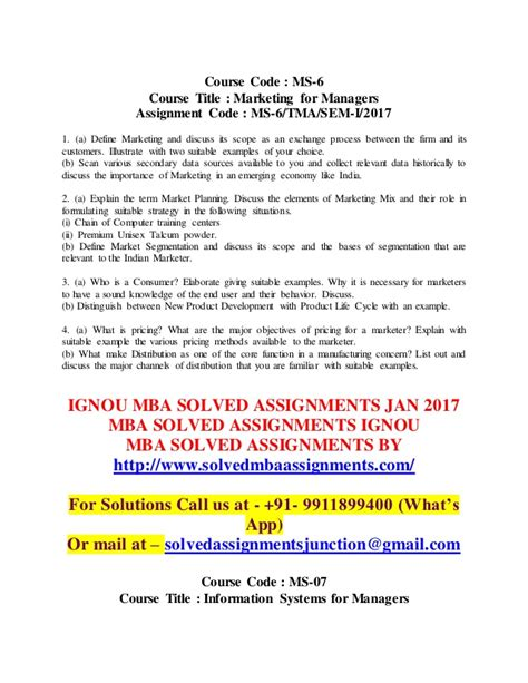 Free Ignou Mba Solved Assignment 2017 by Ignou Mba Solved Assignments 2017