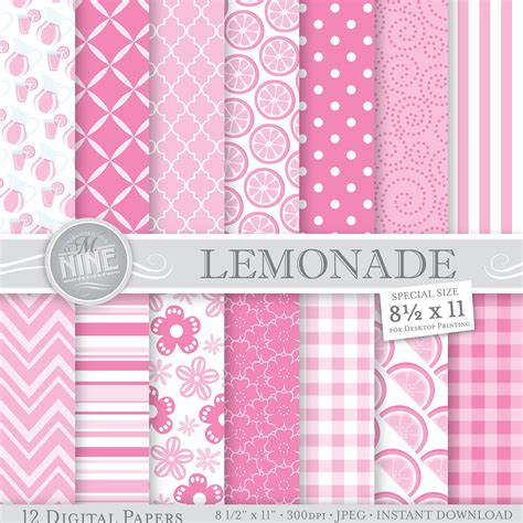 pink pattern themes pink lemonade theme patterns 8 1 2 x 11 digital by