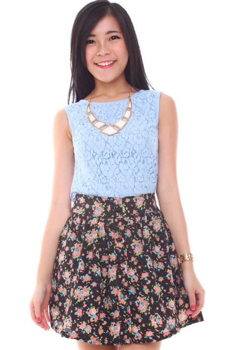 floral high waisted skirt dress ala