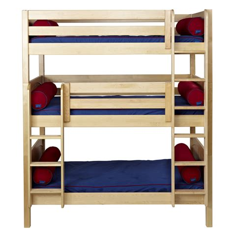 triple bunk beds maxtrix holy triple bunk bed in natural with panel bed
