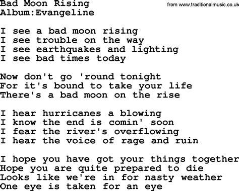 moon lyrics emmylou harris song bad moon rising lyrics
