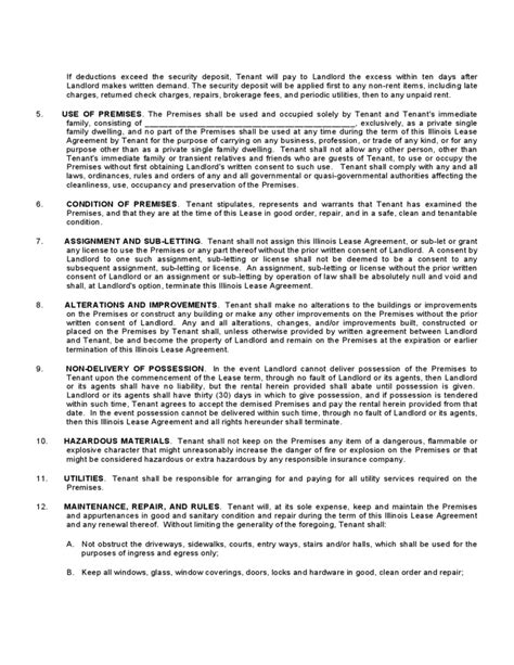sle standard lease agreement illinois standard residential lease agreement free