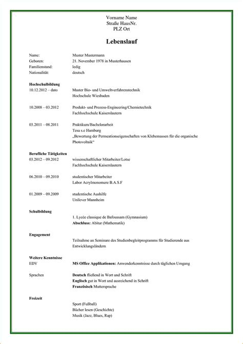 Lebenslauf Muster Initiativbewerbung 7 Lebenslauf Muster Pdf Reimbursement Format